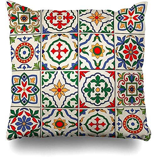 Cojines Fundas Azul Español Precioso Blanco Colorido Marroquí Portugués Azulejos Adornos de Azulejo Rellenos de Patrón Mosaico Decoraci