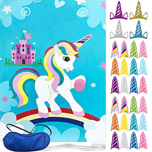 oannao Unicorn Party Supplies-Pin The Horn on The Unicorn Party Games for Kids Birthday Party Game ,Include a Large Poster 24 Reusable Sticker Horns.Unicorn Gifts for Baby -24 Horns 4 Party Hats