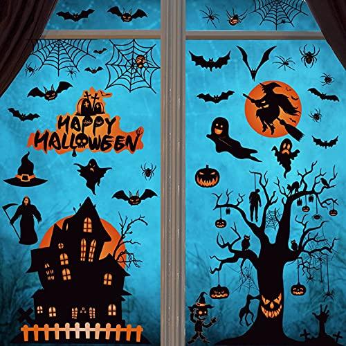 CMTOP Halloween Pegatinas de Ventana Decoración Hallowee Pegatinas de Pared Arañas murciélagos Calcomanías PVC Pegatinas Electrostáticas de doble cara para Familia Fiesta 8 Hojas ⭐