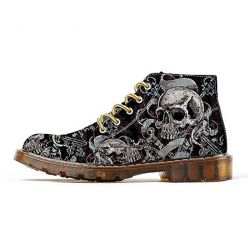 2f93ccec69d FIRST DANCE Shoes Mens Skull Boots Martins Skull Shoes for Men Skeleton  Print Black Ankle Men