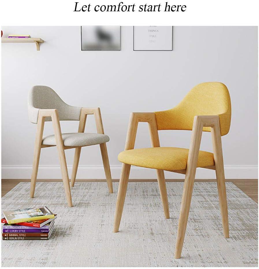 Chaises de salle à manger Jambes en métal/Coussin en Tissu de Coton et de Lin/pour Balcon de Salon, capacité de Charge 150KG / Taille 39 * 48 * 80cm A