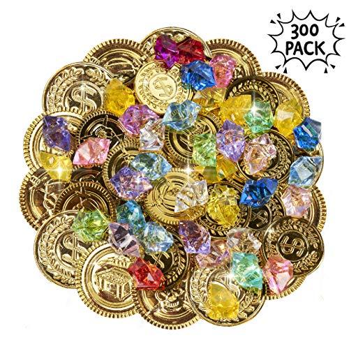 300 Teile Piraten-Schatz-Set - Beinhaltet 150 Goldmünzen und 150 verschiedene farbenfrohe Edelsteine - ideale Spiele für Kinder im Haus für stundenlanges Spiel und Unterhaltung