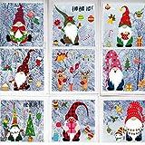 84 Piezas 8 Hojas Pegatinas de Ventana de Navidad de Decoración de Copos de Nieves, Calcomanías de Reno Duende Papá Noel de Decoración Navideña Suministros de Fiesta Navidad