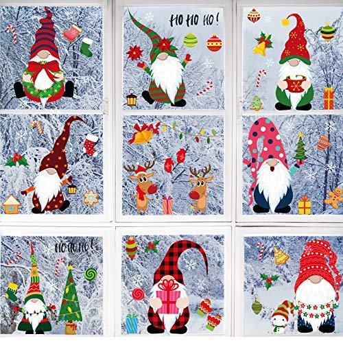 84 Pezzi 8 Fogli Aggrappa Adesivi per Finestra Natalizie Decorazioni con Fiocchi di Neve, Adesivi per Finestre Decorazione Natalizie Decalcomanie Natalizie di Babbo Natale Elfo Renne