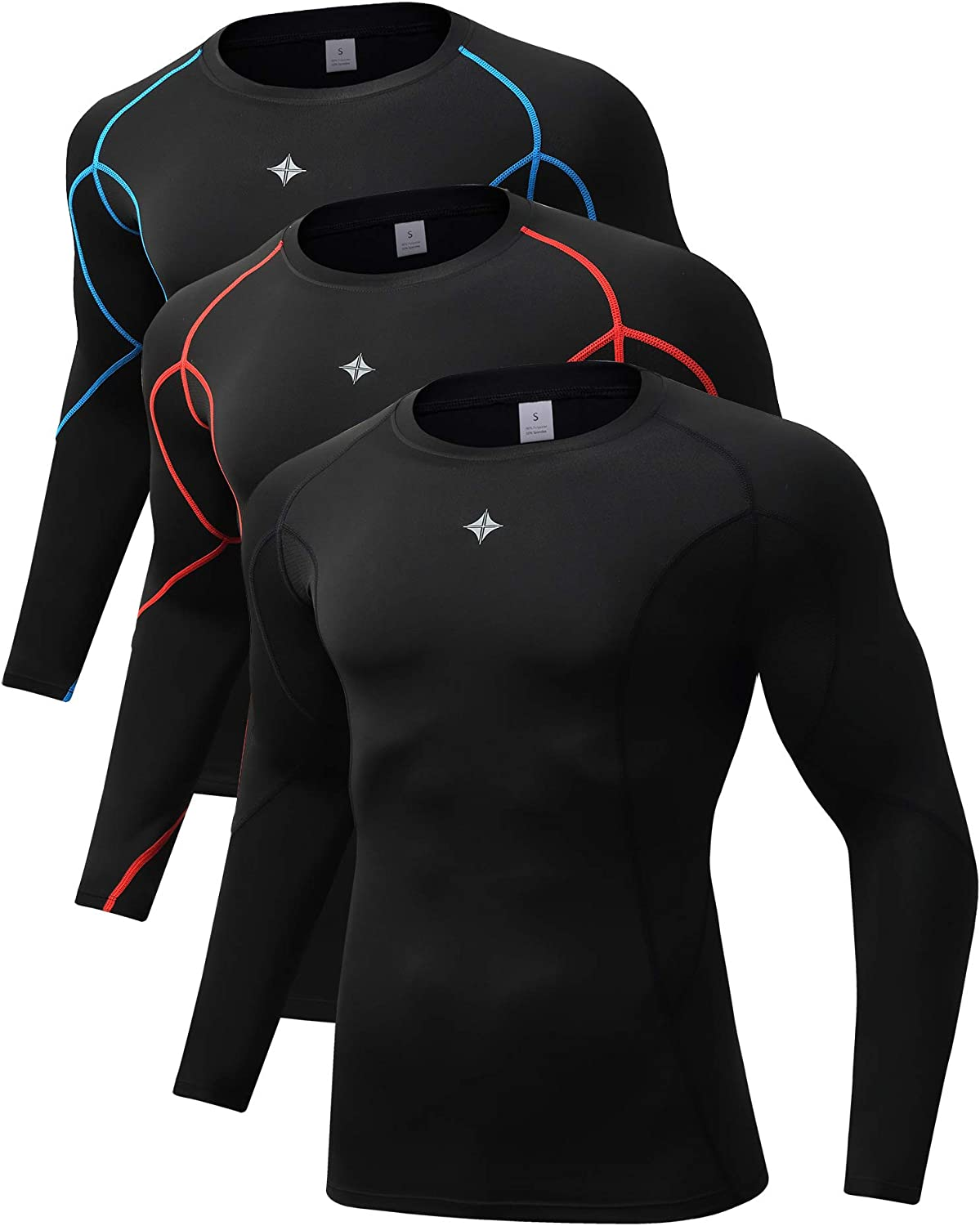 Milin Naco Cool Dry Compression Shirts for Men Long Sleeve Baselayer Tops ,Pack of 1, 2 or 3