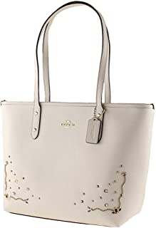 City Zip Tote with Stardust Crystal Rivets in Crossgrain Leather F66906 IM/Chalk Multi
