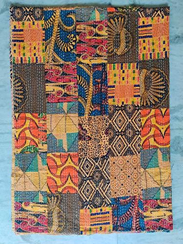 Colcha india doble hecha a mano con diseño de retales de Sari Kantha, manta de algodón indio Kantha de punto de mano Kantha