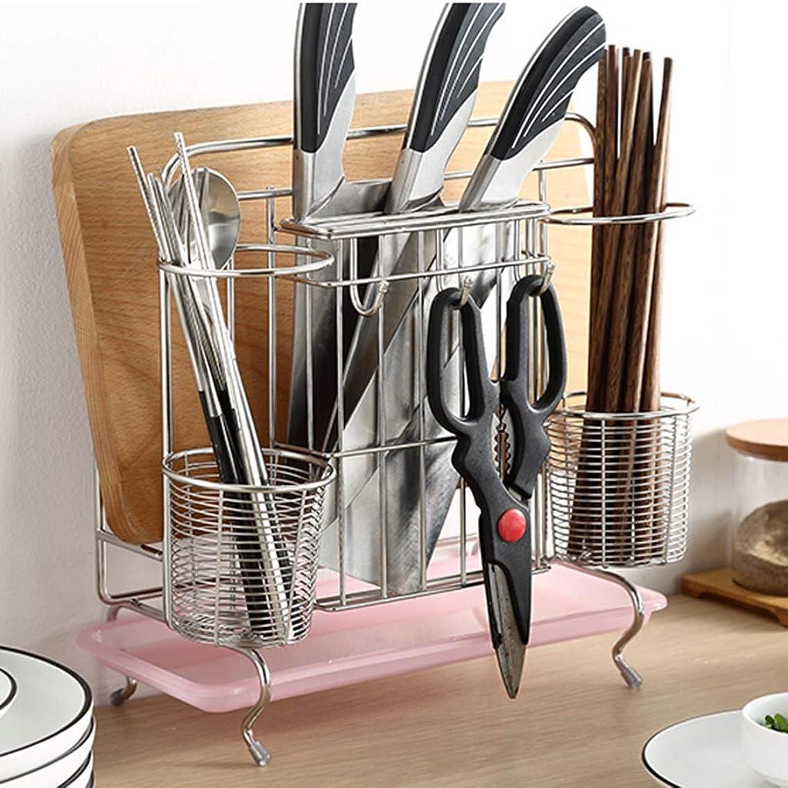 IUYWL ドレンラック、キッチンステンレス箸収納ドレンバスケット、多機能ラック-ウォールマウント キッチンドレンラック (Color : Silver)