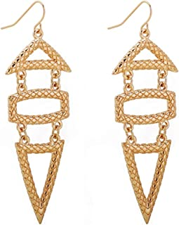 Thor'sHam Gold Tower Hook Earrings Exaggerated Retro Earring Jewelry