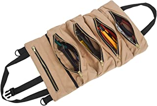 UNISTRENGH Tool Roll Up Bag Multipurpose Wrench Roll Pouch Canvas Tool Organizer Car First Aid Kit Tool Storage Pack Hanging Carrier Tote Car Camping Gear with 5 Zipper Pockets (Khaki)