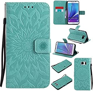 Protective Case Compatible with Samsung Sun Flower Printing Design PU Leather Flip Wallet Lanyard Protective Case with Card Slot/Stand Compatible Samsung Galaxy Note 5 Phone case (Color : Green)