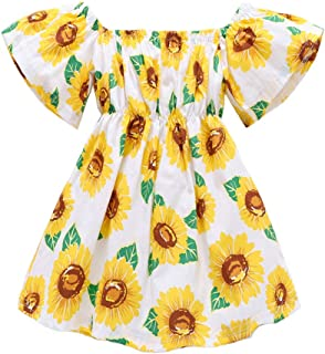 EISHOW 1-6 Years Toddler Kids Baby Girls Summer Dress Sunflower Floral Print Off Shoulder Short Sleeve Casual Sundress (White, 3-4 Years)