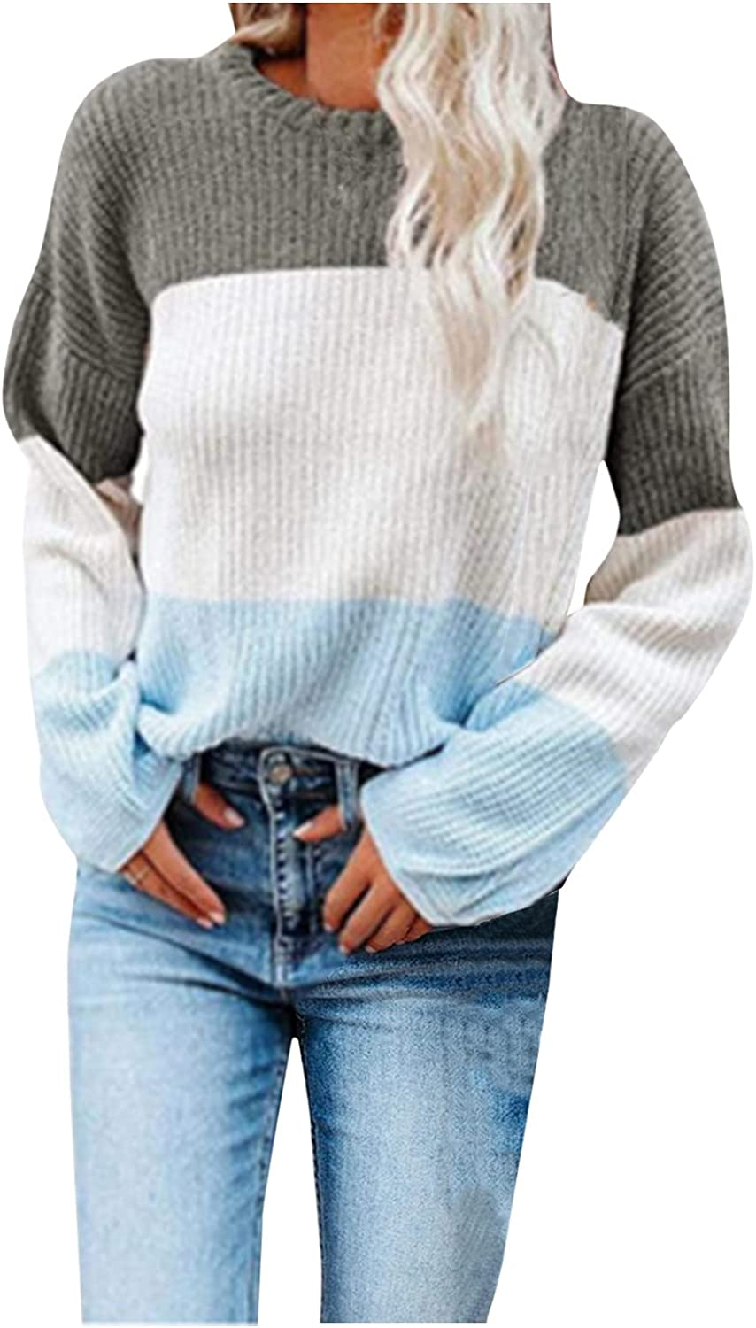 Women's Fashion Long Sleeve Sweaters Color Block Casual Knitted Sweater Crew Neck Loose Pullover Jumper Tops for Winter
