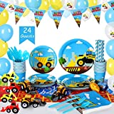 Construction Kids Birthday Party Supplies Set (over 240 pieces) - Serves 24 Guests – Includes Dump Truck Party Decorations, Digger Disposable Dinnerware
