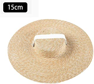 Beach Cap Boater Hat Wide Brim Straw Hat Flat Sun Hat with Ribbon Tie for Women in Summer