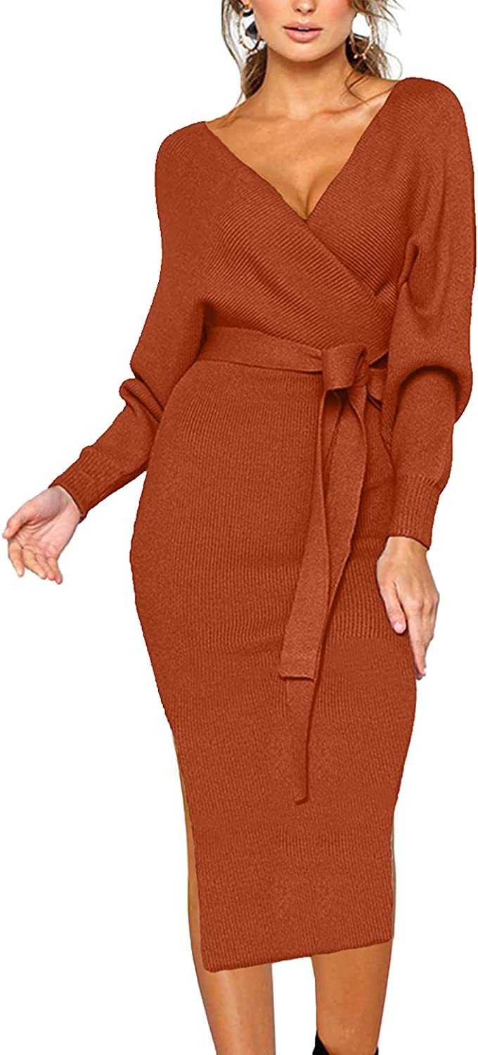 CHERFLY Women's V Neck Sweater Dresses Batwing Long Sleeve Backless Bodycon Dress with Belt
