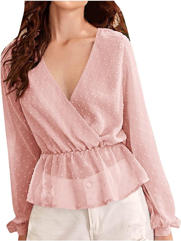 Women's Summer Casual Tops Deep V-Neck Solid Regular Print Splicing Long Sleeve Tees T-Shirt Blouse