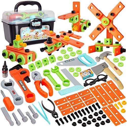 Buyger 82 Piezas Caja Herramientas Juguete Niños Puzzle Ensamblar Juguete de Construcción Maletin Herramientas Juego Regalo para Niños Infantil 4 5 6 7 Años