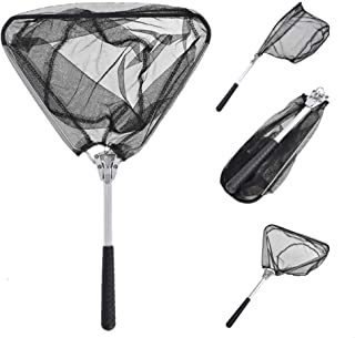ZZWIF Foldable Fishing Landing Net Light Weight Portable Fishing Dip Net Extending Small Net for Fly Fishing Trout Bass Catch and Strong Aluminum Alloy Handle Durable Nylon Mesh