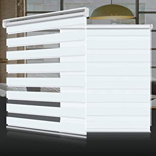 Horizontal Window Shade Blind Zebra Dual Roller Blinds Day and Night Blinds Curtains,Easy to Install 25.6