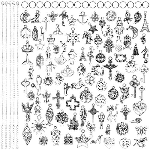 Hifot DIY 5PCS Necklace and 100PCS Charms Pendant Jewellery Making Arts Crafts, Novelty Necklaces Bracelet Pendants Accessories, Handmade Products