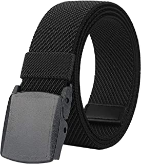 Belts for Men,Elastic Stretch Belt with YKK Plastic Buckle, Breathable Canvas Waist Belt for Work Outdoor Cycling Hiking, ...