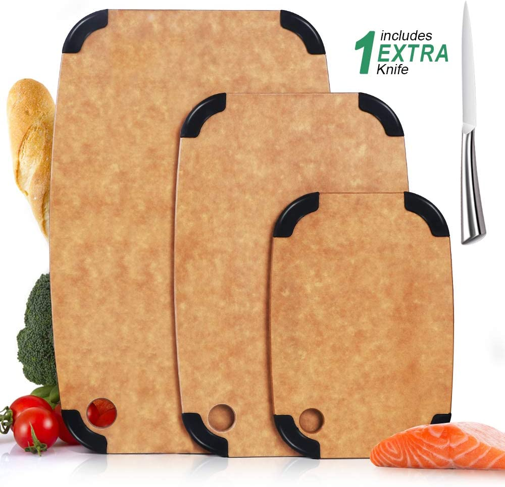 Masthome 3 Piece Max 73% OFF Wood Cutting Board Eco-Friendly Anti-slip security with