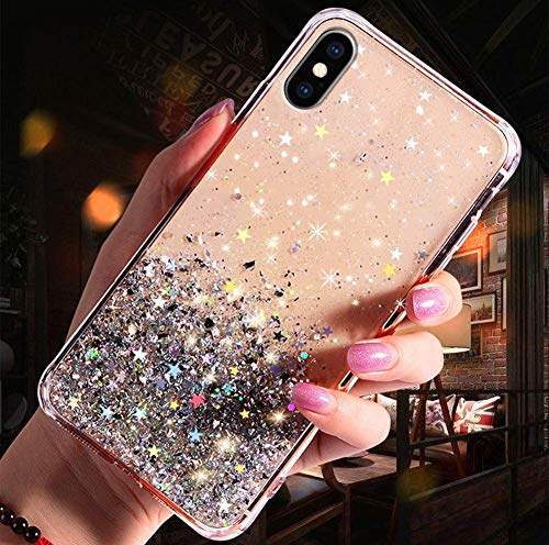 Herbests Compatible avec iPhone X Coque Glitter Silicone Paillette Bling Housse Ultra Fine Gel TPU Étui Étincelle Transparente Case Ultra Mince Antichoc Clair Cristal Cover,Transparent