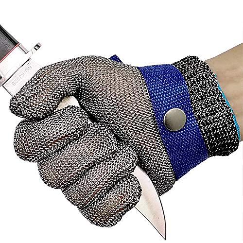 Schnittschutzhandschuhe, Schnittfeste Lebensmittelecht Handschuhe, Edelstahl-Metal Mesh Metzgerhandschuh mit Weiße Stoffhandschuhe (XL)