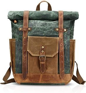 FANDARE Mode Schultasche Herren 15.6 inch Laptop Rucksack Grosse Kapazität Reiserucksack Outdoor Trekkingrucksacke Segeltuch Grün