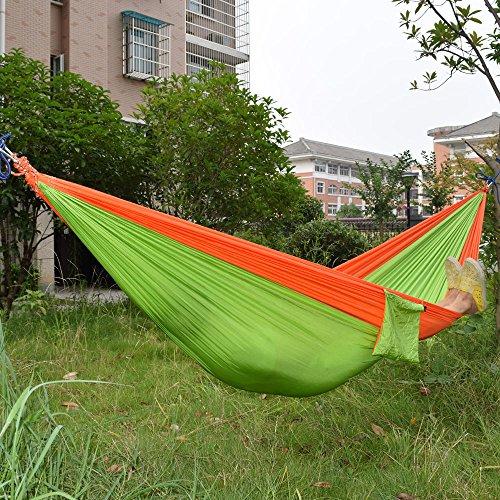 AOAO lumière Hamac léger en Nylon Parachute Tissu Hamac Hamac Y Compris Corde en Acier Boucle pour Camping randonnée, Orange/Vert