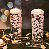 200 Pieces Artificial Pearl Chains for Floating Candles Centerpiece 7.5 Inch Vase Fillers Faux Pearl Chain Filler Filling in Floating Candles for Wedding Party Home Centerpieces (White and Pink)