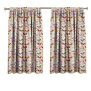 Crib Bedding And Baby Bedding Baby Blocking Draperies Cute Butterflies Girlish Kids Playroom Flowers Princess Baby Nursery Cartoon Theme Window Treatment For Hall &Amp; Guest Room 40X63 Inch