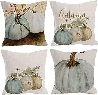 Decroitem Watercolor Pumpkin Pillow Covers Fall Harvest Decor Cotton Linen Throw Pillow Cases Sofa Cushion Cover 18 x 18 Inch Halloween Thanksgiving Home Decoration Set of 4 (Pumpkin- Blue Gray White)