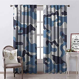 GloriaJohnson Camouflage Blackout Curtain Illustration with Abstract Soft Colors Pattern Camouflage Design 2 Panel Sets W42 x L84 Inch Slate Blue Indigo Grey