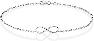 925 Sterling Silver Diamond-Cut Infinity Beaded Ball Chain Anklet Ankle Bracelet for Women Teen Girls, Choice White or Yellow 9, 10 Inch Made in Italy