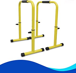 Skyland Heavy Duty Adjustable Height & Portable Multi-Function Dip Stand Fitness Bar With Safety Connector for Home Traini...