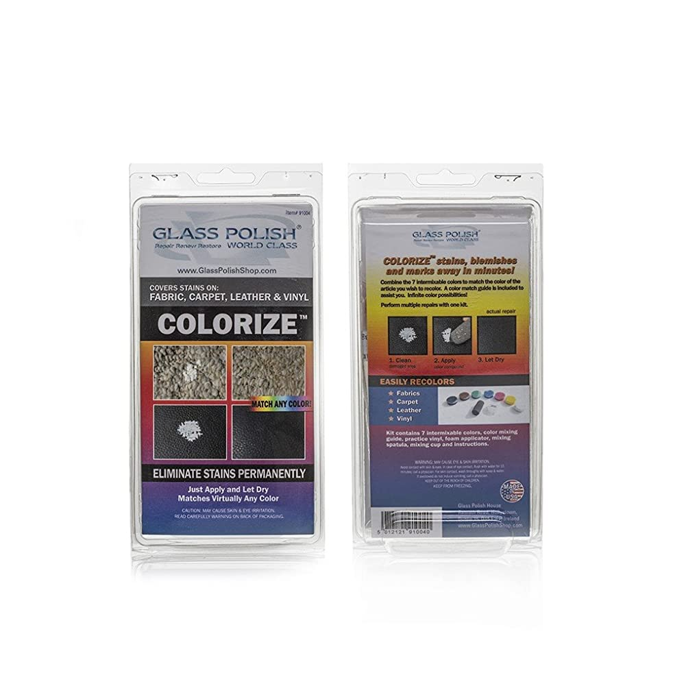 Glass Polish GP91004 Colorize Leather, Vinyl, Fabric and Carpet Dye, DIY Repair Kit - Repair Stains, Discoloration and Natural WEAR