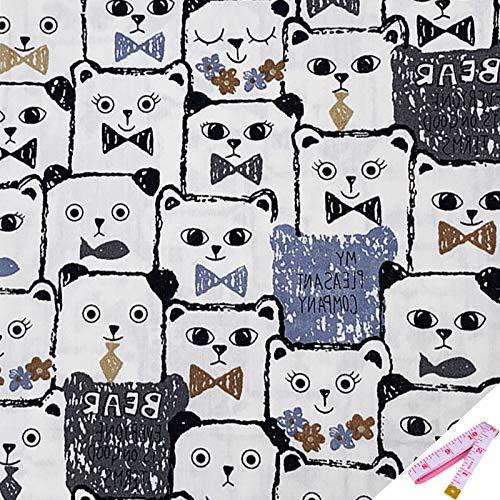 Tela de algodón por metros para coser con cinta métrica suave – 100% algodón 160 cm x 100 cm para patchwork, tela DIY, mezcla de panda