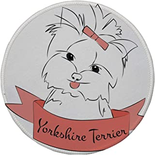 Non-Slip Rubber Round Mouse Pad,Yorkie,Cute Puppy with Hair Buckle Yorkie Terrier Animal Ribbon Cartoon Character Print Decorative,Pink White,11.8