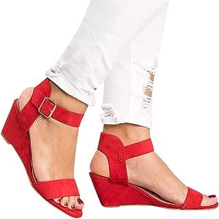 Women's Summer Ankle Strap Buckle Low Wedge Platform Heel Sandals Fashion Design Pump Shoes (US:9, Red)