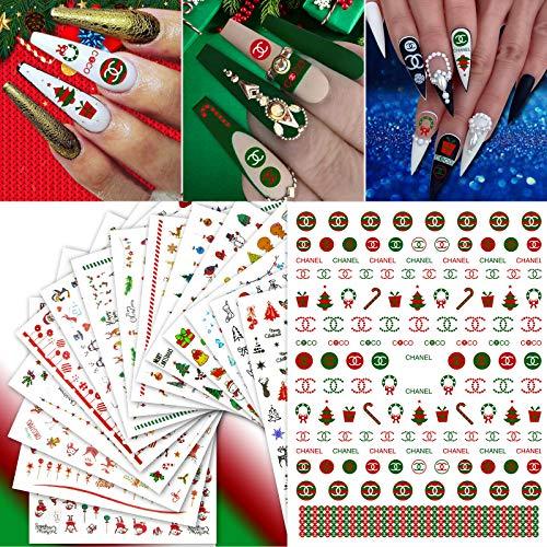 Luxus Weihnachten Nagel Aufkleber - 2000 + Pcs LOGO Design Selbstklebende Nagel Aufkleber Schneeflocken Schneemann Weihnachtsmann Rentier Weihnachtsbaum Nail Art Schablone für Maniküre DIY (16 Blatt)