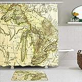 Stoff Duschvorhang & Matten Set,Michigan frühe Karte Great Lakes gedruckt Bordeaux Bildung Vintage Ontario Old Erie Antique Superior,wasserabweisende Badvorhänge mit 12 Haken,rutschfeste Teppiche