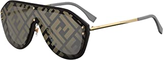 Men FF M0039/G/S 2M2 7Y Black Gold Plastic Shield Sunglasses Gold Fendi Print Mirror Lens, 99-1-145