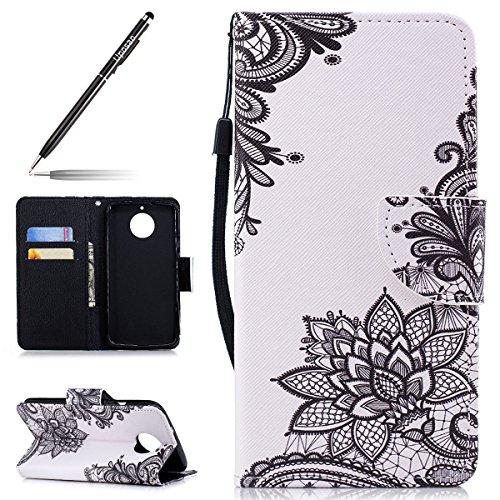 Uposao Kompatibel mit Motorola Moto G6 Handytasche Bookstyle Klappbar Flip Hülle Tasche Brieftasche Lederhülle Leder Handy Schutzhülle Wallet Cover mit Magnetverschluss,Schwarz Rose Blumen