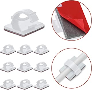 JIRVY Self Adhesive Cable Clips Black Management Wire Clip Cord Holder 100 Pack (White)