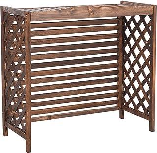 Cubierta de radiador de aire acondicionado de soporte de flores de madera, cubierta de madera de estante antioxidante de madera maciza, cubierta de aire acondicionado almacenamiento del marco exteri