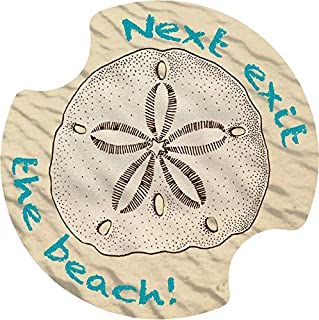 Thirstystone Next Exit the Beach Car Cup Holder Coaster, 2-Pack