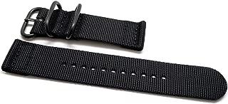 DaLuca Two Piece Ballistic Nylon Watch Strap - Black (PVD Buckle) : 26mm