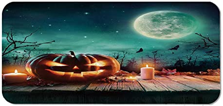 Halloween Personalized Mouse Pad,Fantastic Magic Night Spooky Atmosphere Candles Pumpkin on Wooden Planks Print for Work Game,15.75''Wx23.62''Lx0.08''H